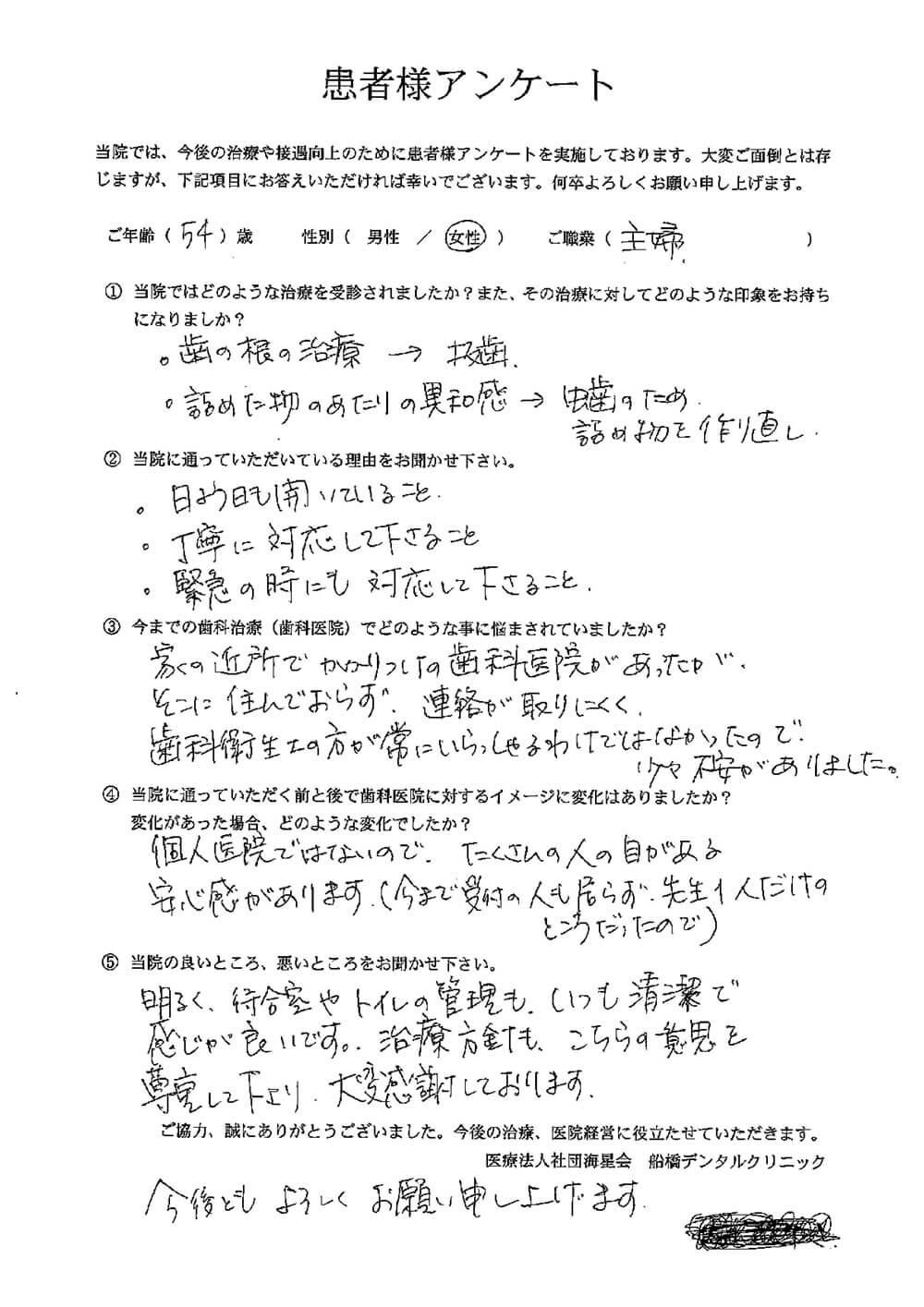 船橋デンタルクリニックの口コミ・評判アンケート1