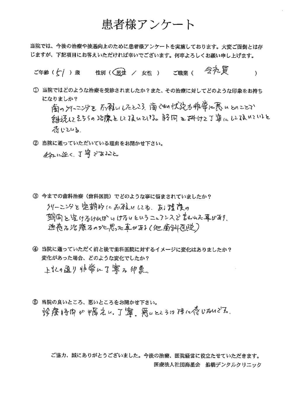 船橋デンタルクリニックの口コミ・評判アンケート3