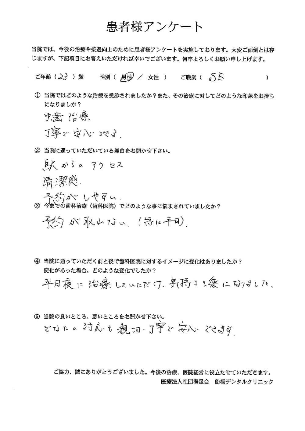 船橋デンタルクリニックの口コミ・評判アンケート5