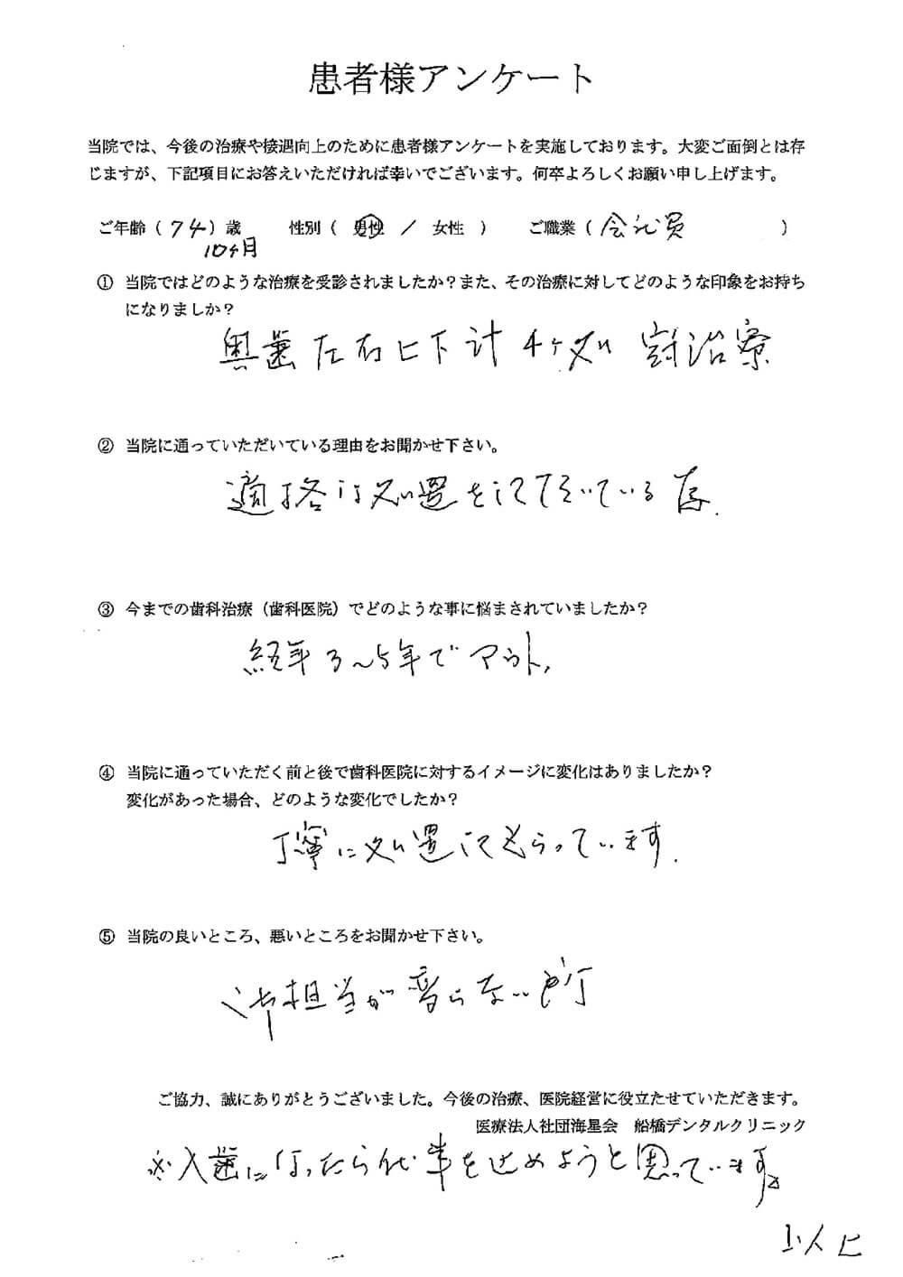 船橋デンタルクリニックの口コミ・評判アンケート6
