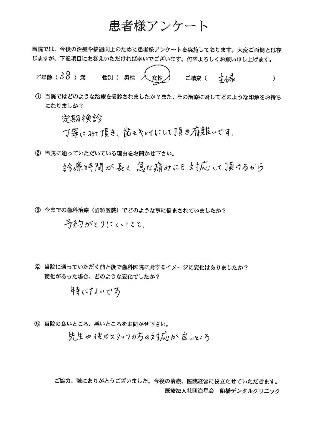 船橋デンタルクリニックの口コミ・評判アンケート10